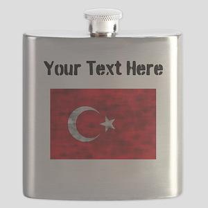 Distressed Turkey Flag (Custom) Flask