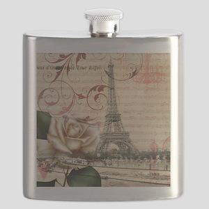 girly rose eiffel tower paris Flask