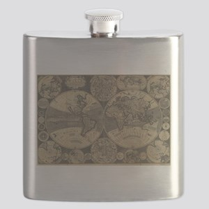 Vintage Map of The World (1702) 3 Flask