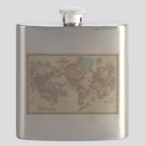 Vintage Map of The World (1860) Flask