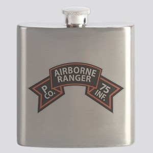 P Co 75th Infantry (Ranger) Scroll Flask