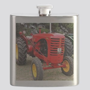 Old red tractor Flask
