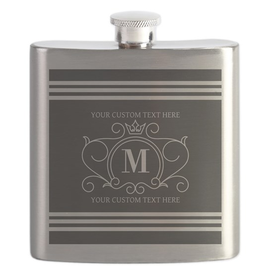 Gray Victorian Stripes Personalized Flask