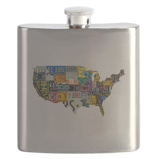 USA vintage license plates map