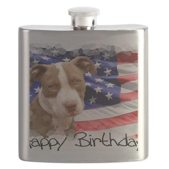 Happy Birthday Pitbull puppy Flask