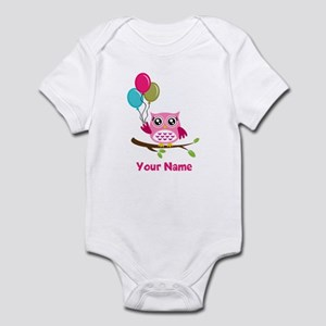 personalized add name Owl Infant Bodysuit