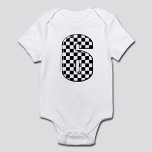 checkered number #6 Infant Bodysuit