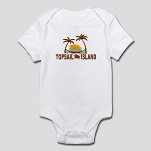 Topsail Island NC - Palm Trees Design Infant Bodys