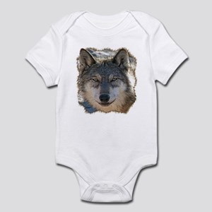 Gray Wolf Face Infant Bodysuit
