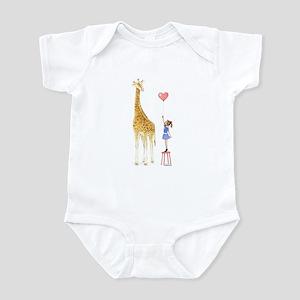 Giraffe With Little Girl And Balloon Baby Onesie