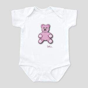 Onesie with Pink Gingham Teddy Bear