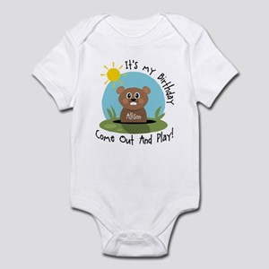 Allison birthday (groundhog) Infant Bodysuit