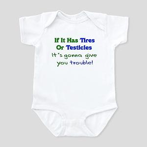 Tires Testicles Trouble Infant Bodysuit