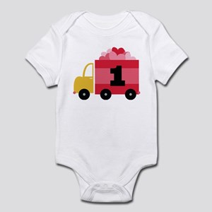 1st Birthday Heart Truck Infant Bodysuit