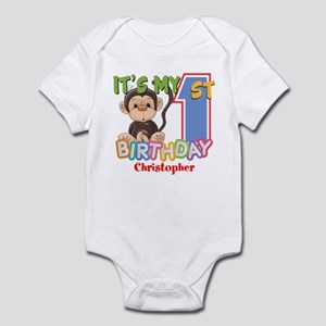 Monkey 1st Birthday Custom Infant Bodysuit