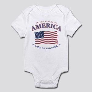 4th July American Flag Baby Snap T-Shirt / Onesie