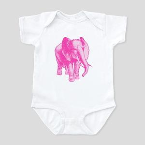 Pink Elephant Illustration Infant Bodysuit