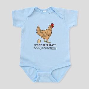 Chicken Poops Breakfast Funny Desi Infant Bodysuit