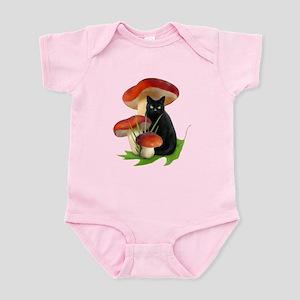 Black Cat Red Mushrooms Infant Bodysuit