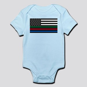 Thin Blue Line Decal - USA Flag - Red, B Body Suit