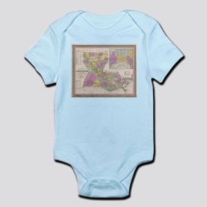 Vintage Map of Louisiana (1853) Body Suit