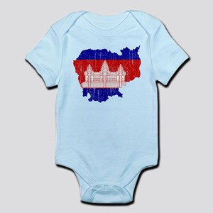 Cambodia Flag And Map Infant Bodysuit