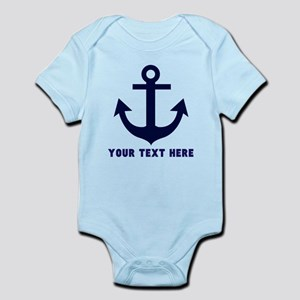 Nautical Anchor Personalized Baby Light Bodysuit