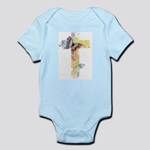 8f743d5ff Baby. Pastel floral cross and butterflies Body Suit