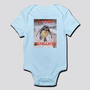 """I LOVE PENGUINS"" Infant Creeper"