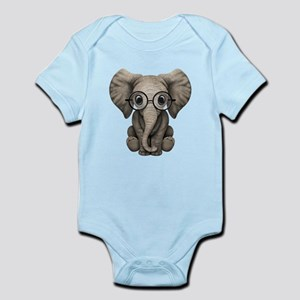 fbf96d9e5 Cute Baby Elephant Calf with Reading Glasses Body