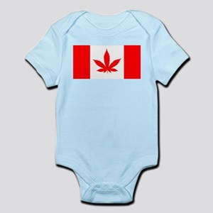 Canadian Weed Flag Red Body Suit