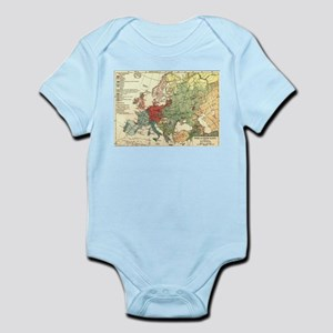 Vintage Linguistic Map of Europe (1907) Body Suit