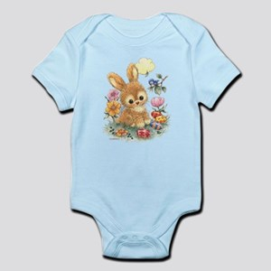 Cute Easter Bunny with Flowers and Eggs Body Suit