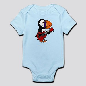 Funny Puffin Bird Playing Guitar Body Suit