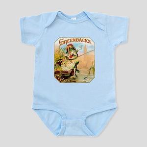 Greenbacks Fishing Frog Cigar Label Infant Bodysui