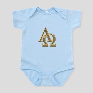 """""""3-D"""" Golden Alpha and Omega Symbol Infant Bodysui"""