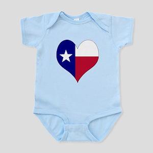 I Love Texas Flag Heart Infant Bodysuit