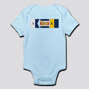 Preppy Dog Golden ACK Signal Flag Infant Bodysuit