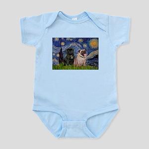 Starry Night & Pug Pair Infant Bodysuit
