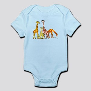 Giraffe Family Portrait in Oranges and Yellows Bod