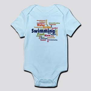 Swimming Word Cloud Body Suit