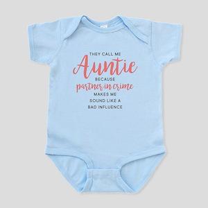 Auntie Partner in Crime Baby Light Bodysuit