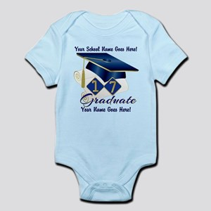 Blue Graduate Cap and Diploma Body Suit