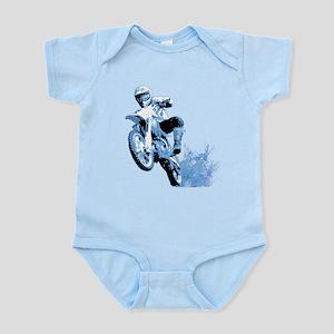 Blue Dirtbike Wheeling in Mud Infant Bodysuit
