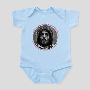 John 3:16 (3x3 badge) Infant Bodysuit