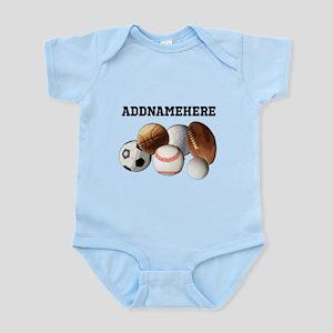 Sports Balls, Custom Name Infant Bodysuit