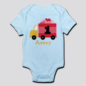 Personalized 1st Birthday Valentine Truck Body Sui