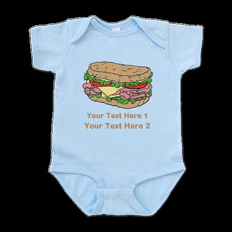 Sandwich. Custom Text. Infant Bodysuit