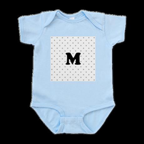 Your Letter on Gray dots. Infant Bodysuit