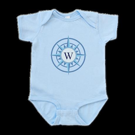 Compass, Nautical Monogram, Blue Infant Bodysuit